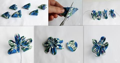 Kanzashi gėlės technika